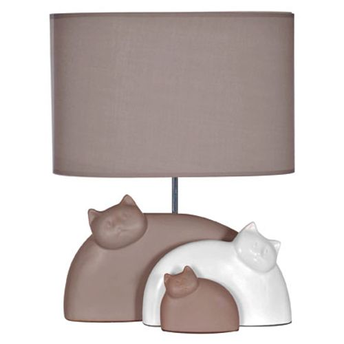 Lampe à poser Seynave 'Cats' taupe/blanc 40 W