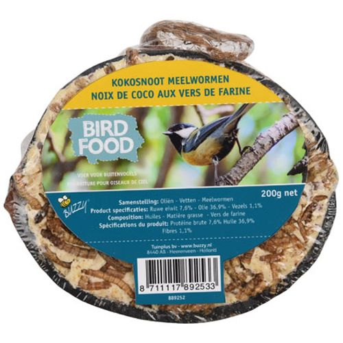 Kokosnoot half met vet en meelwormen