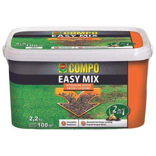 Compo gazonherstel meststof Easy Mix 2-in-1 100m² 2,2kg