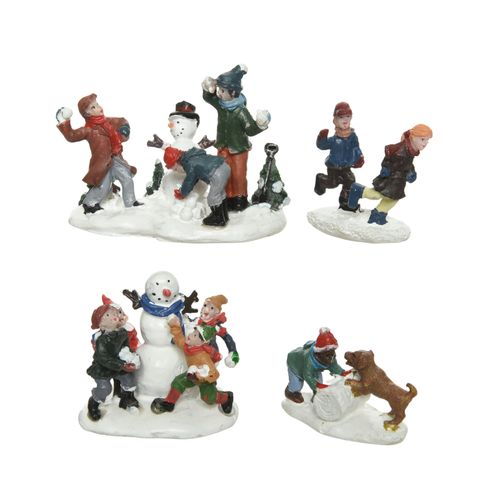 Set figurines bataille de boules de neige Decoris 2pcs