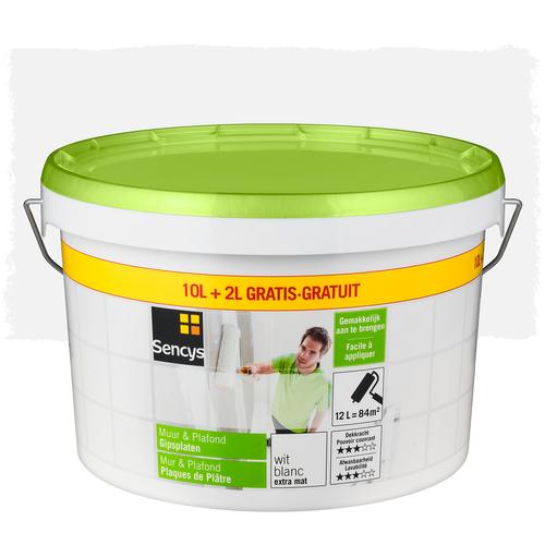 Sencys verf muur & plafond gipsplaten wit 12L