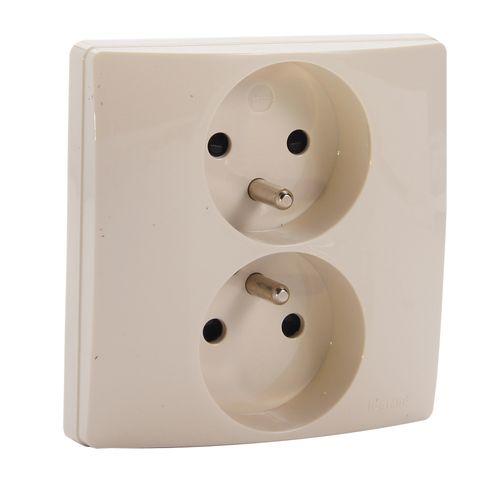 Legrand niloé compact dubbel stopcontact tweepolig plus aarding crème