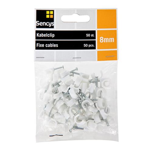 Sencys kabelclips kunststof 8 mm - 50 stuks