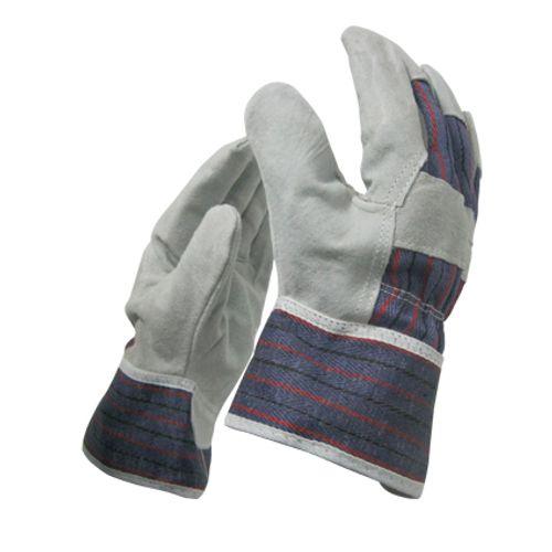 Sencys werkhandschoenen large leder blauw/grijs - 3 stuks