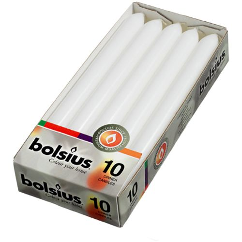 Bolsius dinerkaars wit 23cm 10 stuks