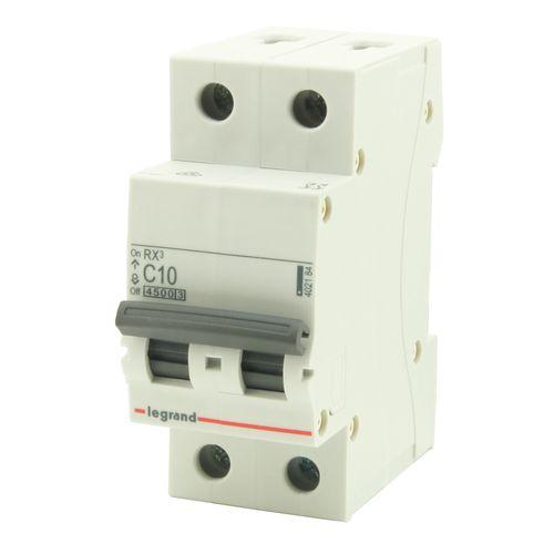 Legrand sokkelautomaat 2P 10A grijs