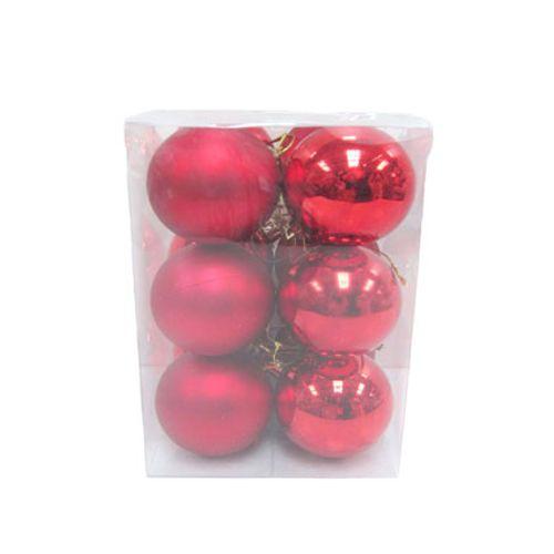Boules de Noël en plastique rouge Central Park 6cm 12 pcs