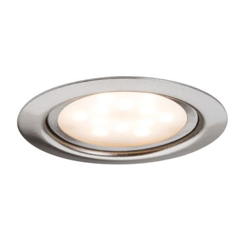 Spot encastrable Paulmann rond LED 3x4,5W chrome et fer brossé