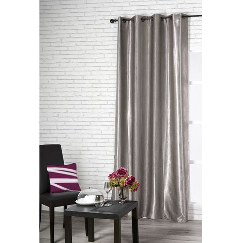 Rideau occultant 'Cosy' polyester gris 140 x 260 cm