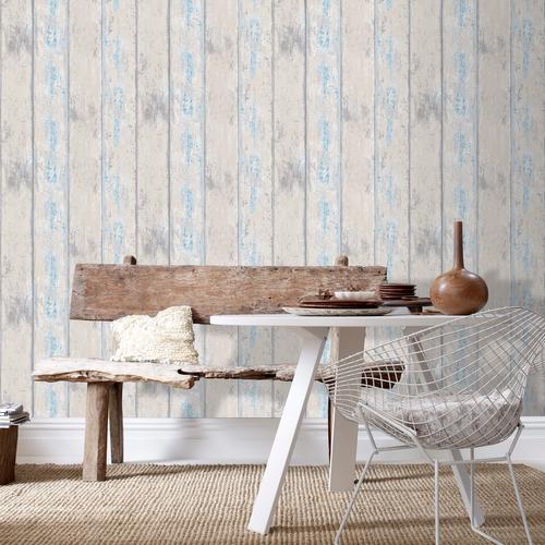 Papier peint intissé Decomode bois bleu gris