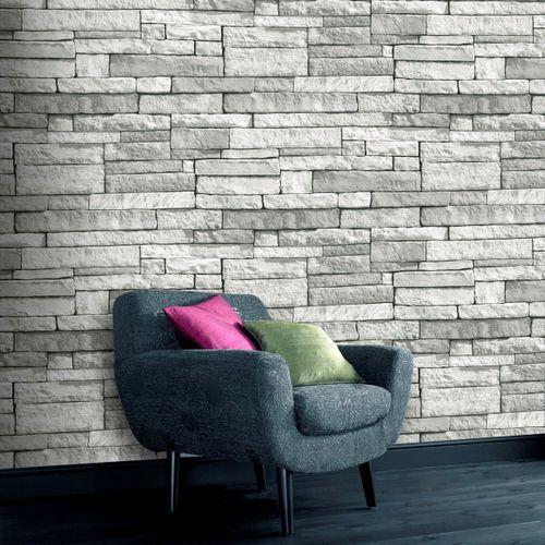 Papier peint intissé Decomode pierres gris clair