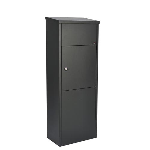 Allux pakketten- en brievenbus op voet staal zwart