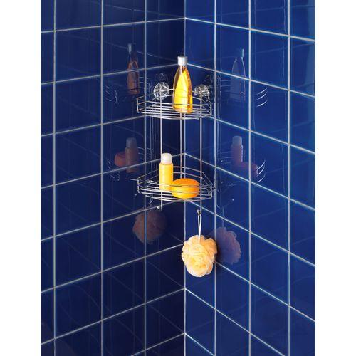 Etagère de douche angulaire + pompe Vacuum Loc Wenko double panier 2 crochets chrome