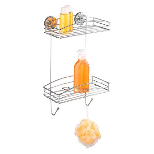 Etagère de douche + pompe Vacuumloc Wenko double 2 crochets chrome