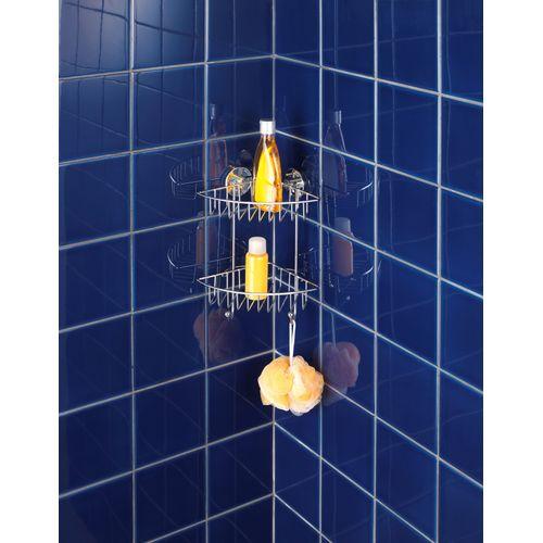 Etagère de douche angulaire + pompe Vacuumloc Wenko Bari double 2 crochets chrome