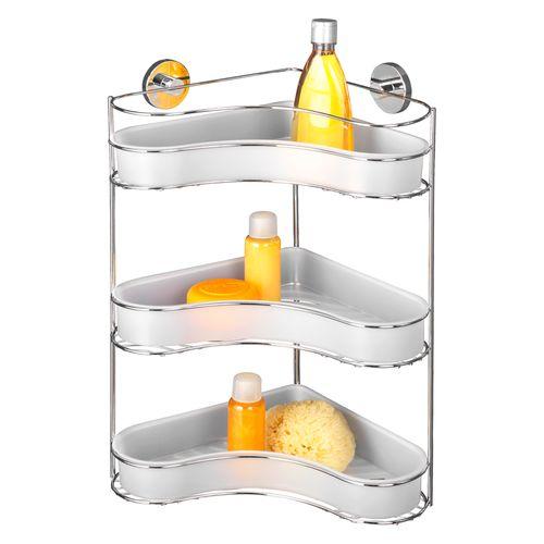 Etagère de douche angulaire + pompe Vacuumloc Wenko Milazzo triple chrome blanc
