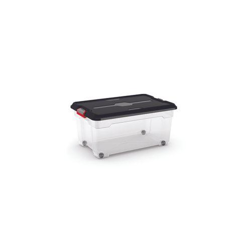Kis opbergdoos 'Moover Box L' transparant/zwart 45L