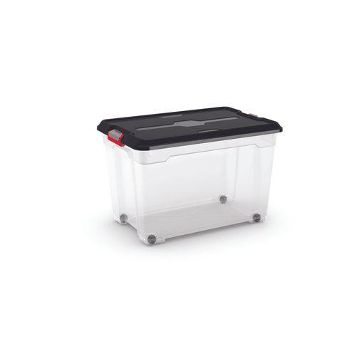 Kis opbergdoos 'Moover Box XL' transparant/zwart 60L