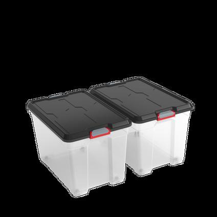 Boîte de rangement Kis 'Moover Box XL' transparent/noir 60L