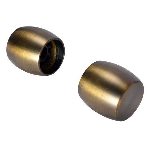 Decomode 2 eindknoppen cap 'Elegance' antiek brons 28 mm