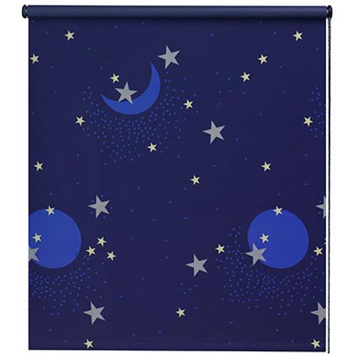Store enrouleur Decomode 'Ciel étoilé' occultant bleu 120 x 190 cm