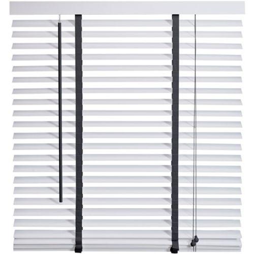 Intensions jaloezie Exclusive hout 50mm wit met donkergrijs uni 100 x 175cm
