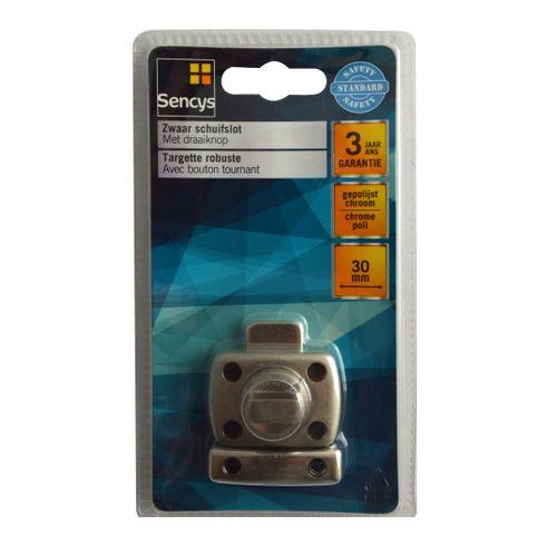 Targette robuste avec bouton tournant Sencys chromé 30 mm