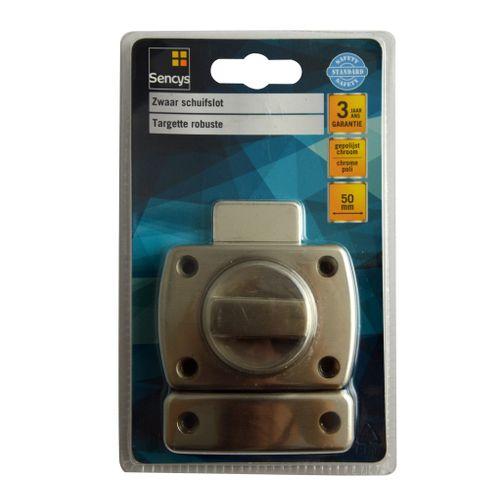 Targette robuste avec bouton tournant Sencys chromé 50 mm