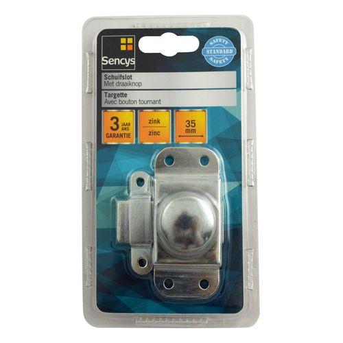 Sencys schuifslot met draaiknop zink 35 mm - 2 stuks