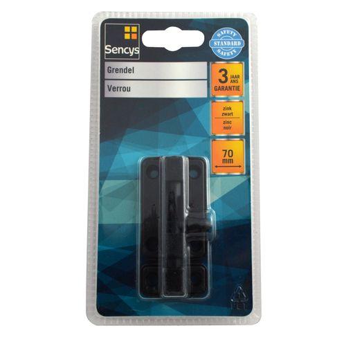 Sencys grendel zwart 70 mm