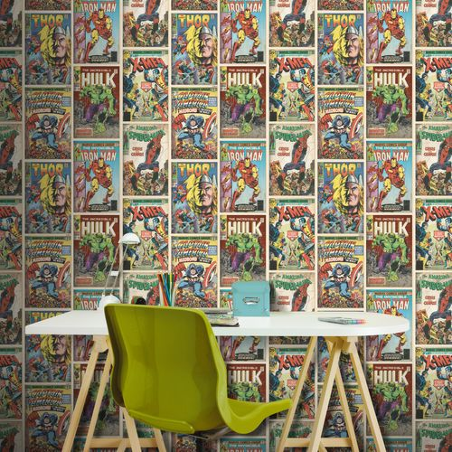 Disney Papierbehang Marvel Action heroes meerkleurig
