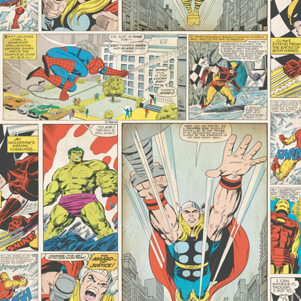 Disney Papierbehang Marvel Comic strip meerkleurig