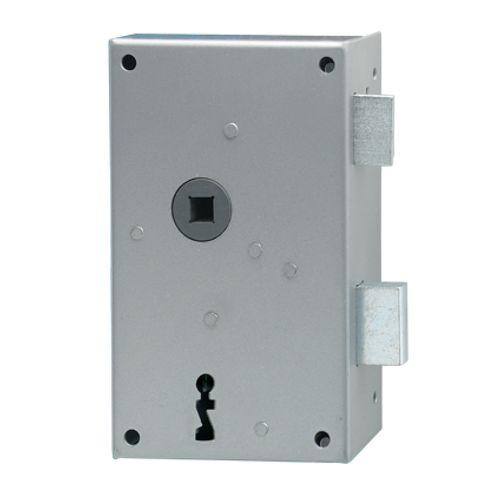 Serrure à appliquer verticale main droite Sencys 'M981' acier gris 57 x 50 mm