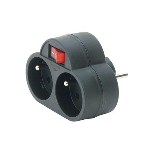 Domino Profile 2x16A noir + interrupteur