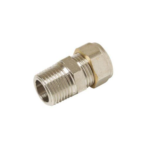 "Sencys knel radiatorkoppeling nikkel recht 1/2""bux15mm conisch gastec / kiwa"