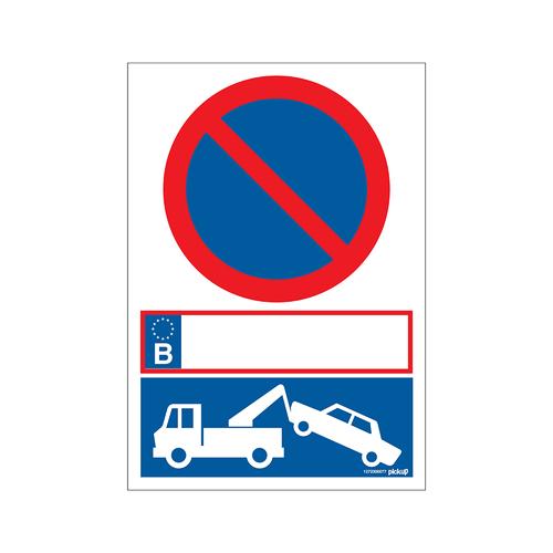PickUp bord 'Parkeerverbod op kenteken'