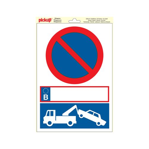 Pickup sticker parkeerverbod 23x33cm rood/blauw