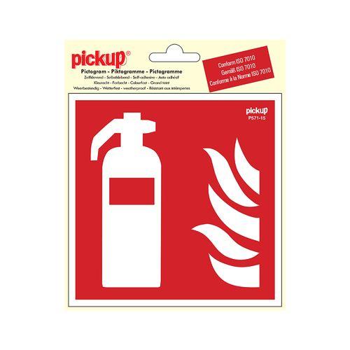 Pickup sticker brandblusser 15x15cm rood
