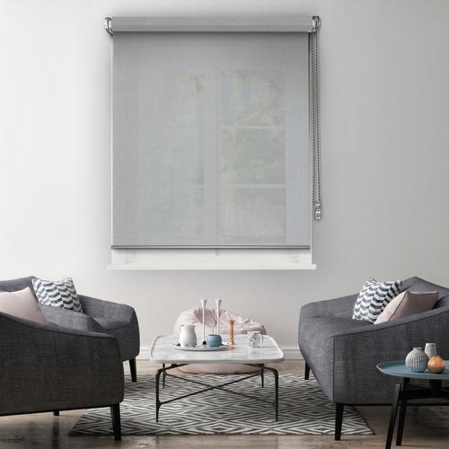 Store enrouleur Madeco 'Must' tamisant motorisable gris clair 150 x 250 cm