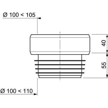 Wirquin wc-pot uitgang recht 11cm
