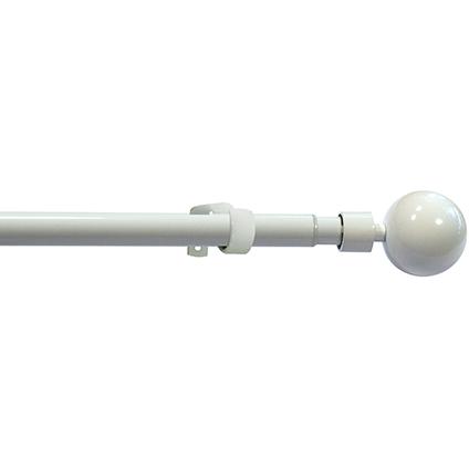Mobois kit verstelbare gordijnroede en eindknoppen 'Orlando' metaal wit glans 120 à 210 cm