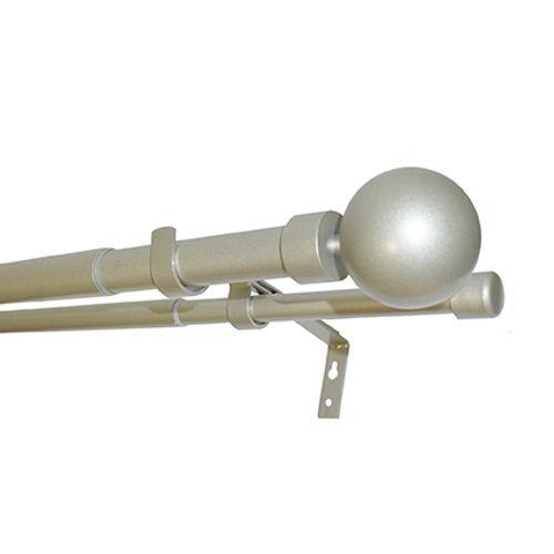 Mobois kit verstelbare dubbele gordijnroede en eindknoppen metaal geborsteld nikkel 200 à 370 cm