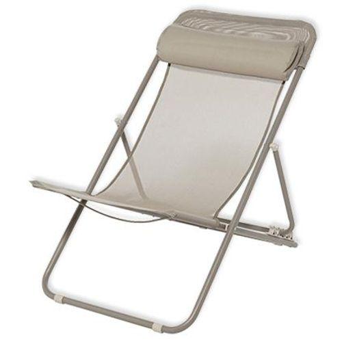 Chaise de plage Central Park Sevilla acier taupe