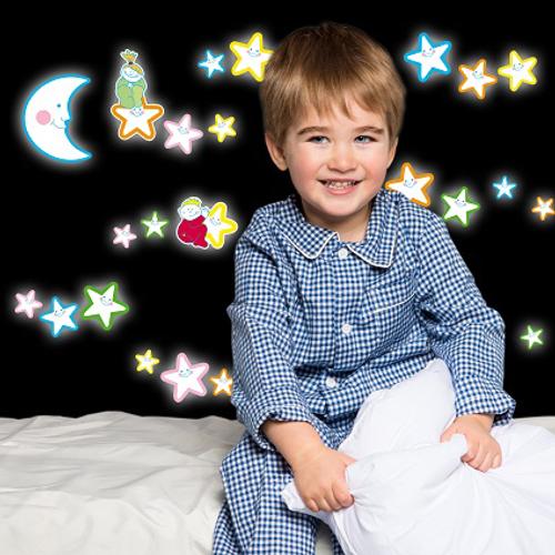 Crearreda sticker fluo lachende sterren 'M Gid' 31 x 31 cm