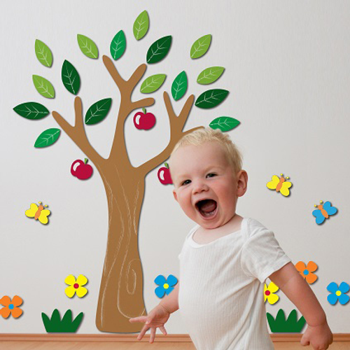 Crearreda sticker 3D schuim appelboom 'L Foam' 47 x 47 cm