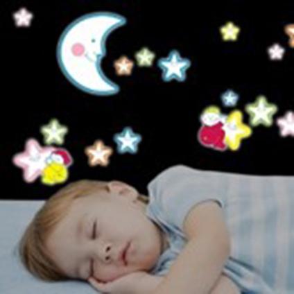Crearreda sticker 3D schuim fluo lachende sterren 'L Foam Gid' 47 x 47 cm
