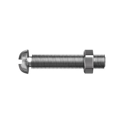 Sencys metaalschroef laagbolkop en moer gegalvaniseerd M8 100mm 4 stuks
