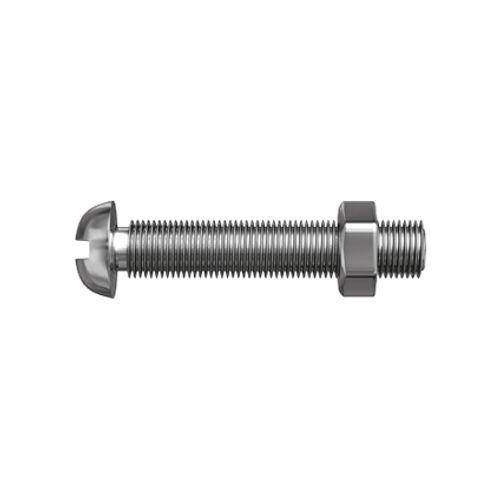 Sencys metaalschroef laagbolkop en moer gegalvaniseerd M8 40mm 3 stuks