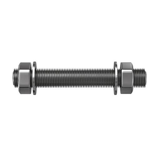 Sencys draadstang met moer en sluitring gegalvaniseerd staal M12 - 2 stuks