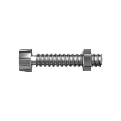 Sencys metaalschroef cilinderkop en moer gegalvaniseerd M4 20mm 20 stuks
